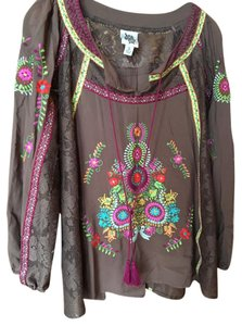 ivy jane Embroidered Lace Ribbon Tassel Top brown
