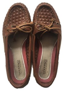 Sperry Boat Woven Leather Leather Tan Flats