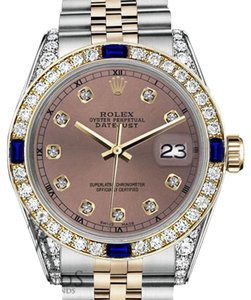 Rolex Women's Rolex 31mm Datejust 2Tone Salmon Dial RT Sapphire & Diamond