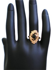 Other Onyx and Gold Plate Adjustable Ring