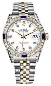 Rolex Women's Rolex 31mm Datejust 2 Tone White Dial Sapphire & Diamond RT