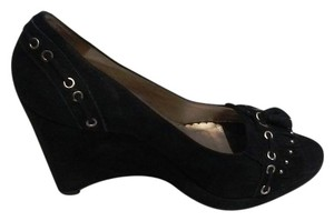 Jessica Simpson Made In Brazil Genuine Black Suede Leather Wedges