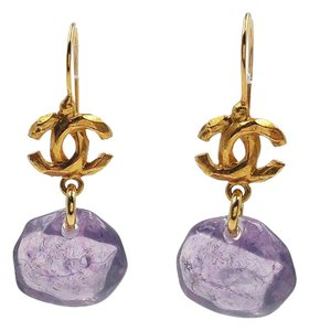 Chanel Authentic Chanel Gold Plated CC Resin Gemstone Hook Earrings