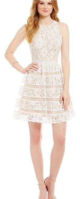 Item - Ivory Nude Lace Fit and Flare Above Knee Formal Dress Size 2 (XS)