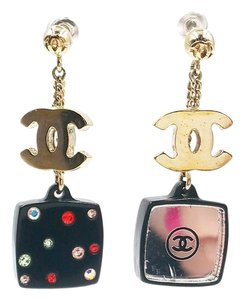 Chanel Chanel CC Colorful Crystal Compact Mirror Piercing Earrings