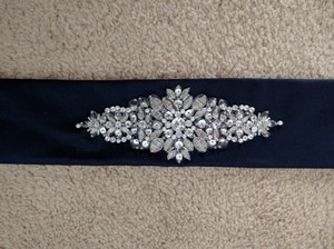 David's Bridal Embellished Navy Blue Satin Sash