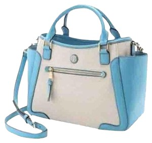 Tory Burch Frances Leather Satchel in Natural/Juniper Berry