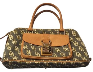 Dooney & Bourke Satchel in Black W/ White Lettering