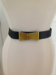 Valentino Authentic Valentino Silk Belt w/Metal Bow Buckle & Signature Logo - NWT
