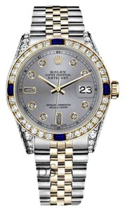 Rolex Rolex 36mm Datejust 2 Tone Slate Grey Dial Sapphire & 8+2 Diamonds