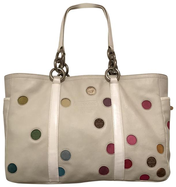 Item - East West Lg Polka Dot Lunch Gallery 3678 White Multi Silver Leather Tote