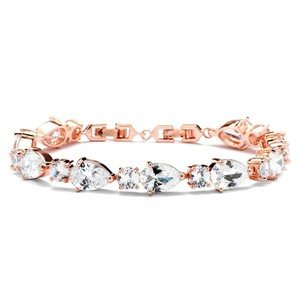 Mariell Cz Pears And Rounds Bridal Or Bridesmaids Rose Gold Bracelet 4374b-rg