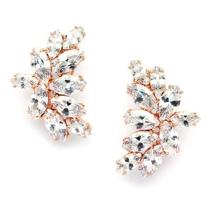 Mariell Shimmering Cubic Zirconia Marquis Cluster Rose Gold Clip-on Earrings 3598ec-rg