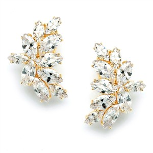 Mariell Shimmering Cubic Zirconia Marquis Cluster Gold Clip-on Earrings 3598ec-g