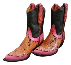 Old Gringo Handtooled Whipstitched Black/Pink/Saddle Boots