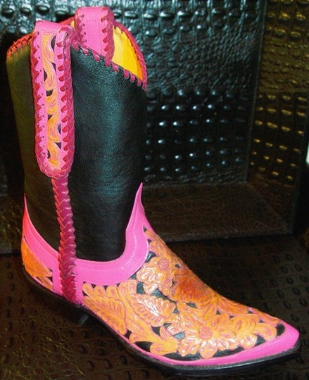 Old Gringo Handtooled Whipstitched Overlay Leather Cowboy Black/Pink/Saddle Boots