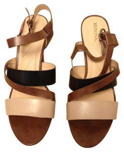 Merona Color Block Chunky Strappy Brown Sandals