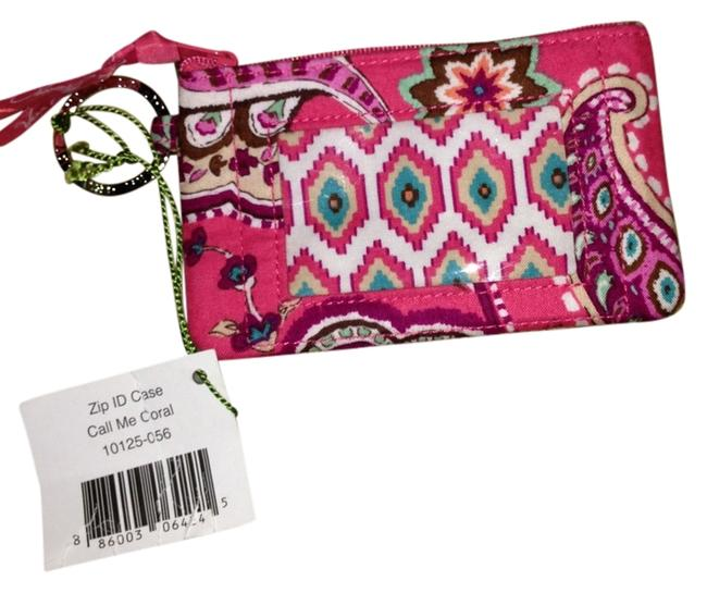 Item - Zip Id Case-call Me Coral Pink Multi Colored Canvas Wristlet