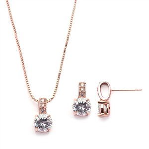 Mariell Delicate Cz Round-cut Rose Gold Necklace And Earrings Set With Pave Top 4551s-rg