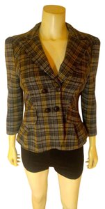 Nanette Lepore P2182 green navy plaid Blazer