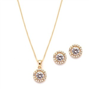 Mariell Gleaming Cubic Zirconia Round Shape Halo Gold Necklace And Stud Earrings Set 4552s-g