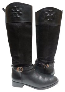 Tory Burch Textile Lining Logo Boldly Stitched Leather Riding Black Boots