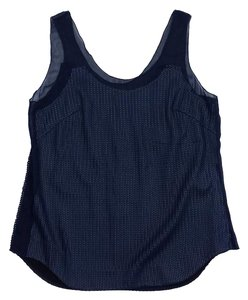Rag & Bone Navy Knit Mesh Panel Top