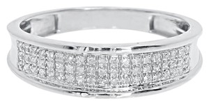10k White Gold Mens 6mm Pave Round Diamond Wedding Band Ring 0.25 ct