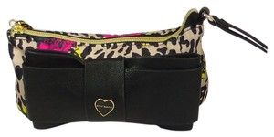 Betsey Johnson Multicolored Wristlet in Black Bow/animal print