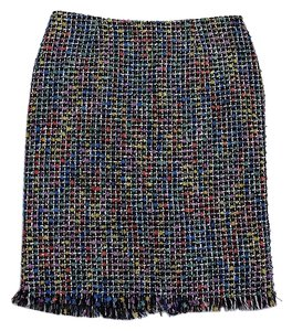 Trina Turk Rainbow Black White Tweed Skirt