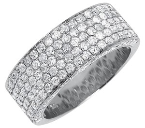 Other 10k White Gold 3d Round Pave Diamond 9mm Wedding Band Ring 3 Ct