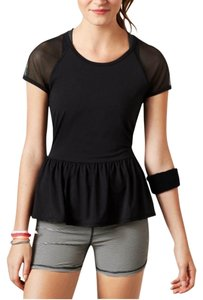 American Eagle Outfitters American Eagle AEO Performance Black Peplum Tee With Mesh Sleeves
