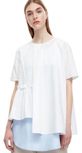 COS Assymetric Poplin Sculptural Summer Top White
