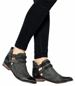 Free People Boho Eclectic Strappy Bootie Black Boots
