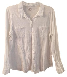 Ann Taylor LOFT Button Down Shirt White