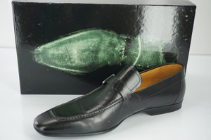 Magnanni Lino Black Leather Loafers Sz 95 Mens Dress Shoe 295 Silver