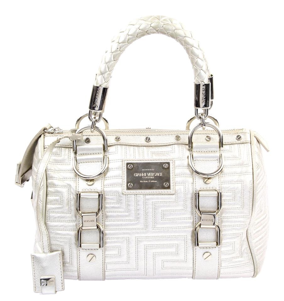 f2e02daa6e98 Versace Snap Out Of It Silver Leather Satchel - Tradesy