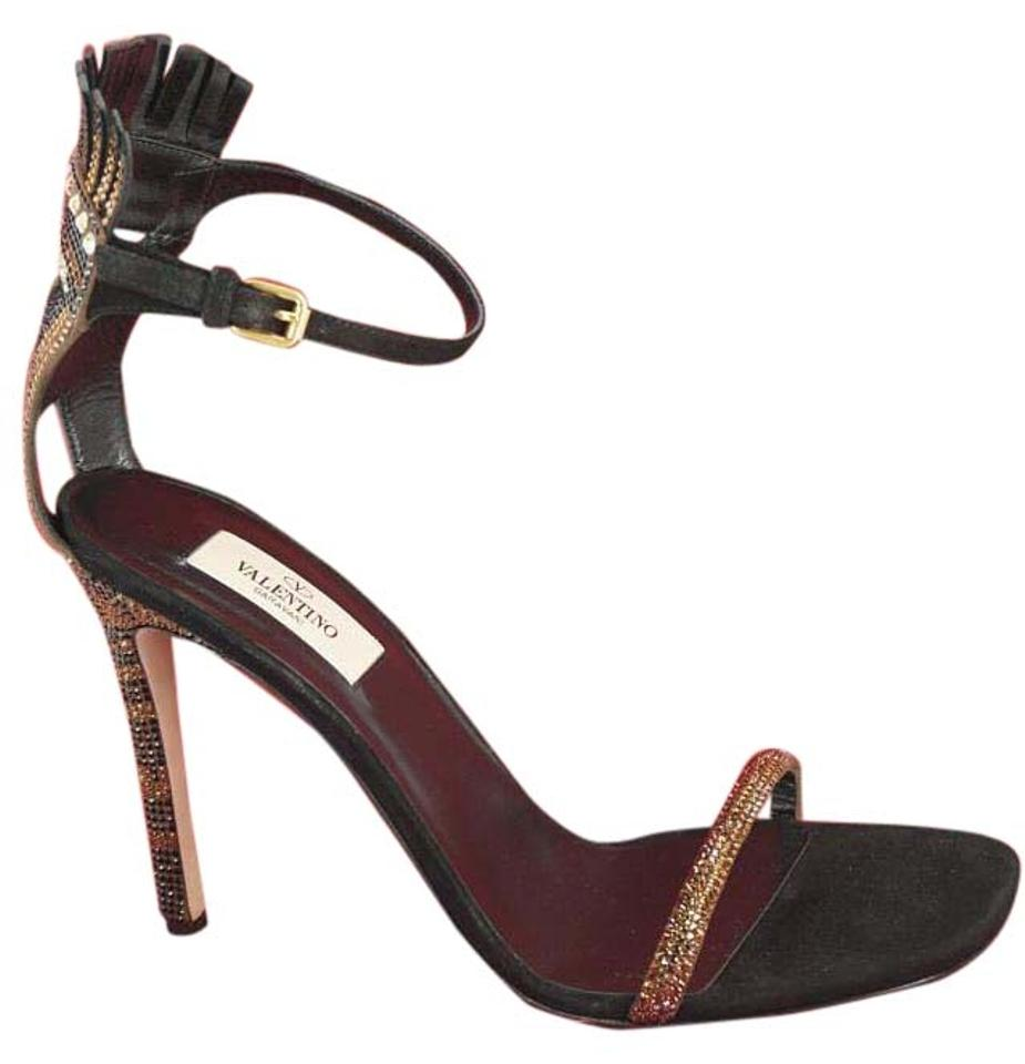 7f1ceacb3f068 Valentino Brown Glam Mask Tribe Metallic Fringe Kiltie Crystal Ankle Strap Sandals  Pumps