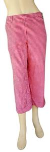 Talbots Silk Gingham Cropped Capris Red