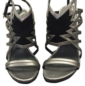Brian Atwood Silver & Black Sandals