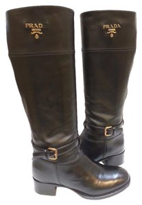 Prada Runs Small Knee-high Riding Leather Inset Side-zip Black Boots