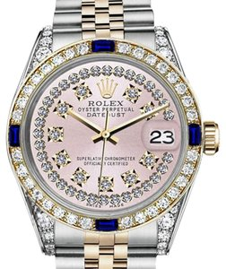 Rolex Rolex 36mm Datejust Pink String Dial With Sapphire & Diamonds