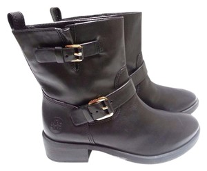 Tory Burch Leather Buckle Closures Goldtone Hardware Mid-calf Stacked Heel Black Boots