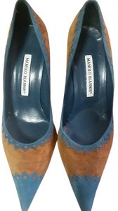 Manolo Blahnik Teal/Brown Suede Pumps