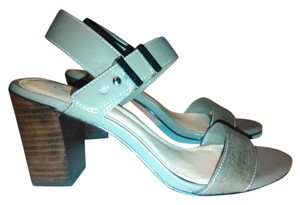 Calvin Klein Logo Metallic Leather Chunky Heel Formal Silver Sandals