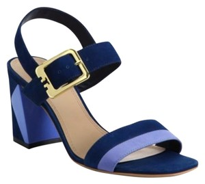 Tory Burch Heel Suede Block Navy Blue Sandals