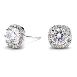 Mariell Cubic Zirconia Cushion Shape 10mm Halo Stud Earrings With Round Cut Solitaire 4556e