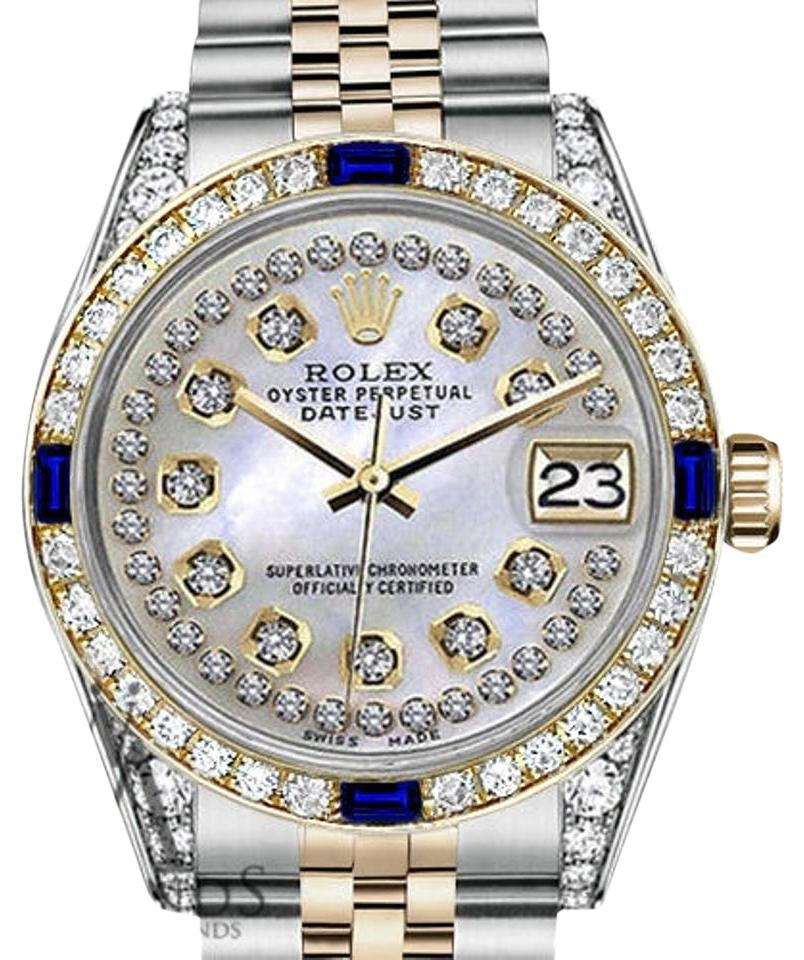Rolex Womens 31mm Datejust White Mop String Dial Sapphire