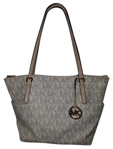 Michael Kors Logo Brown Tote in ivory