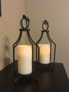 2 - Rustic Black Lanterns With Flameless Candles